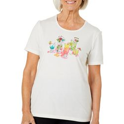 Coral Bay Womens Embellished Tropical Cocktails Top