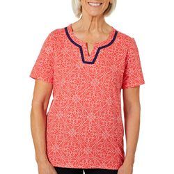 Coral Bay Womens Split Neck Geometric Tile Print Top