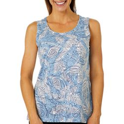 Coral Bay Womens Dotted Leaves and Paisley Tank Top