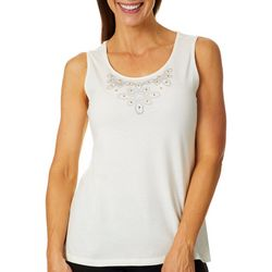 Coral Bay Womens Solid Bling Embellished Tank Top
