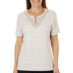 Coral Bay Womens Embroidered Stripe Print Split Neck Top