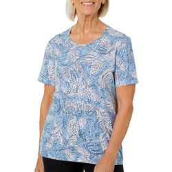 Coral Bay Womens Dotted Leaf And Paisley Printed Top