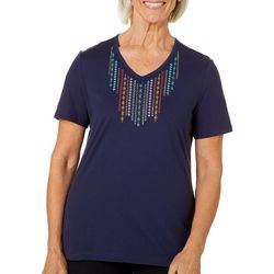 Coral Bay Womens Solid Embroidered V-Neck Top
