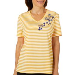 Coral Bay Womens Fleur Embroidered Striped V-Neck Top