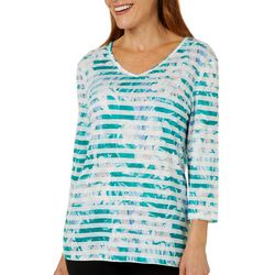 Coral Bay Womens Striped Tropical Floral Lace Back Top