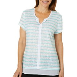 Coral Bay Womens Horizontal Striped Split Neck Top
