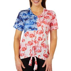 Coral Bay Womens Tropical Americana Short Sleeve Top