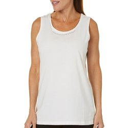 Coral Bay Womens Embellished Neckline Tank Top