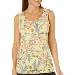 Coral Bay Womens Floral Leaf Sleeveless Top