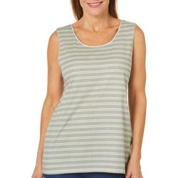 Coral Bay Womens Striped Scoop Neck Sleeveless Top