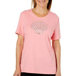 Coral Bay Womens Embellished Tropical Seashell Top