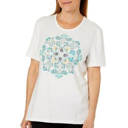 Coral Bay Womens Embellished Paisley Medallion Top