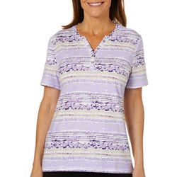 Coral Bay Womens Bubble Striped Henley Top