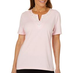 Coral Bay Womens Scroll Embroidered Split Neck Top