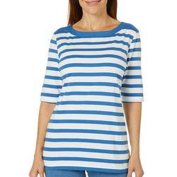 Coral Bay Womens Stripe Print Boat Neck Top