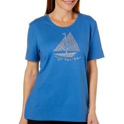 Coral Bay Womens Jeweled Sailboat T-Shirt