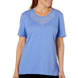 Coral Bay Womens Embellished Scoop Neck Top