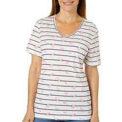 Coral Bay Womens Striped Flamingo Short Sleeve Top