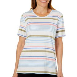 Coral Bay Womens Striped Scoop Neck Short Sleeve Top