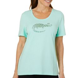Coral Bay Womens Jeweled Alligator Top