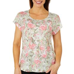 Coral Bay Womens Tropical Flamingo Burnout Top