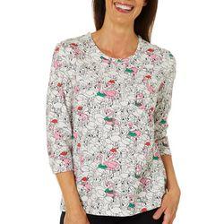 Coral Bay Womens Holiday Mixed Flamingo Print Top