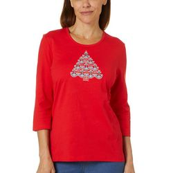 Coral Bay Womens Embellished Holiday Nautical Tree Top