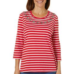 Coral Bay Womens Embellished Holiday Stripe Top