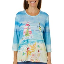 Coral Bay Womens Sailboat Holiday Embellished Top