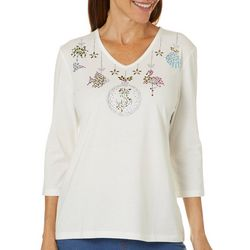 Coral Bay Womens Embellished Tropical Holiday Ornamanet Top