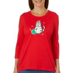 Coral Bay Womens Embellished Holiday Cat Top