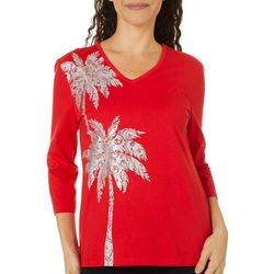 Coral Bay Women Embellished Holiday Palm Tree Top