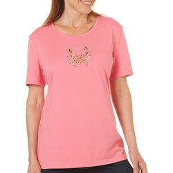 Coral Bay Womens Staycation Embellished Crab Top