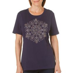Coral Bay Womens Staycation Stud Embellished Top