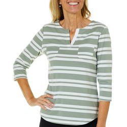 Coral Bay Womens Striped Notch Neck Pocket Top