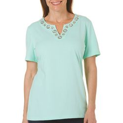 Coral Bay Womens Staycation Embellished Notch Neck Top