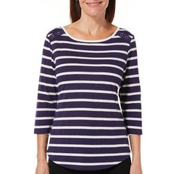 Coral Bay Womens Glitter Striped Button Detail Top
