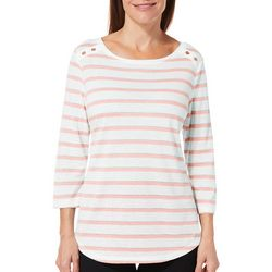 Coral Bay Womens Shimmer Striped Button Shoulder Top