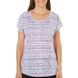 Coral Bay Womens Burnout Horizontal Pattern Top