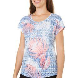 Coral Bay Womens Tropical Leaves Print Burnout Top