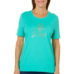Coral Bay Womens Jeweled Seahorse Top