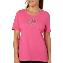 Coral Bay Womens Embellished Hibiscus Top