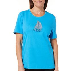 Coral Bay Womens Jeweled Sailboat Top