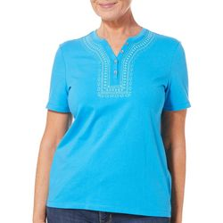 Coral Bay Womens Embroidered Geometric Henley Top