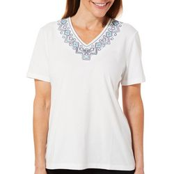 Coral Bay Womens Mixed Diamond Embroidered V-Neck Top