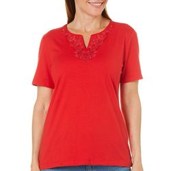 Coral Bay Womens Split Neck Embroidered Floral Top