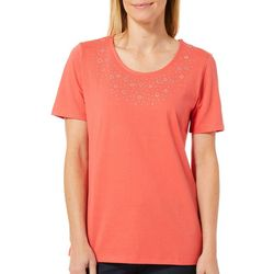 Coral Bay Womens Embellished Solid Short Sleeve Top