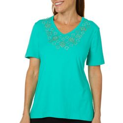 Coral Bay Womens Embellished Geometric V-Neck Top