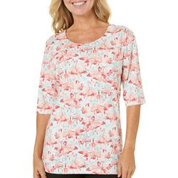 Coral Bay Womens Ocean Drive Pink Flamingo Top