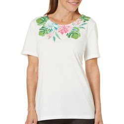 Coral Bay Womens Embellished Tropical Floral Top